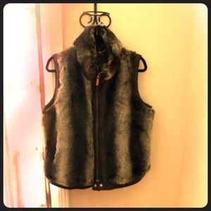 Brown Faux Fur and Leather Zippered Vest
